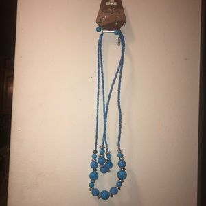 Blue beaded necklace earring set